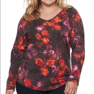 SONOMA 2X FLORAL RED Long Sleeve Stretch NWT Tee